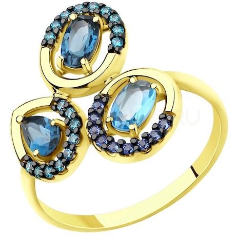Кольцо из желтого золота с топазами и фианитами 715698-2