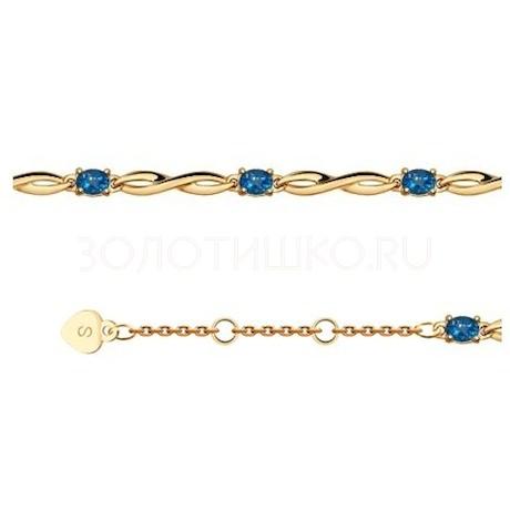 Браслет из золота с синими топазами 750319