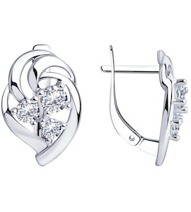 Серьги из серебра с фианитами 94-120-00542-1