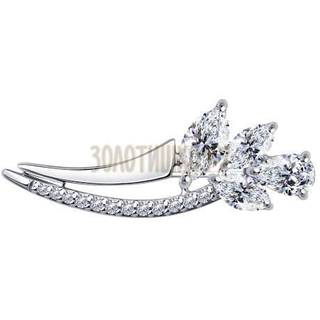 Брошь из серебра с фианитами 94-140-00683-1