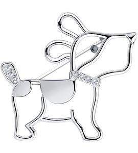 Брошь из серебра с фианитами 94-140-00773-1