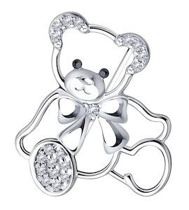Брошь из серебра с фианитами 94-140-00777-1