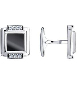 Запонки из серебра с ониксами и фианитами 94-160-00365-1