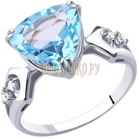 Кольцо из серебра с топазом и фианитами 94-310-00554-1