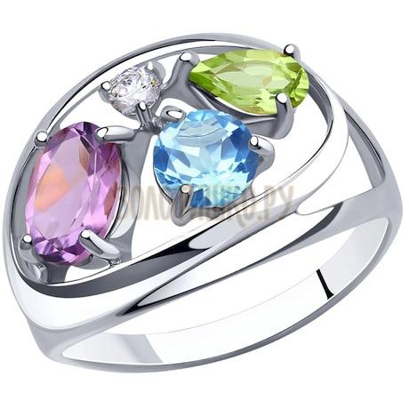 Кольцо из серебра с миксом камней 94-310-00659-1