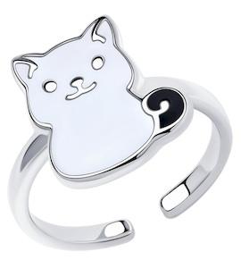Кольцо из серебра с эмалью 94013187