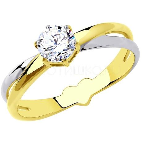 Кольцо из желтого золота с родированием с фианитом 018546-2