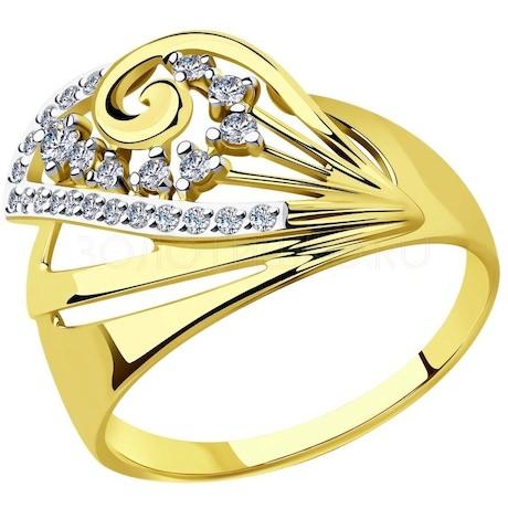Кольцо из желтого золота с фианитами 018600-2