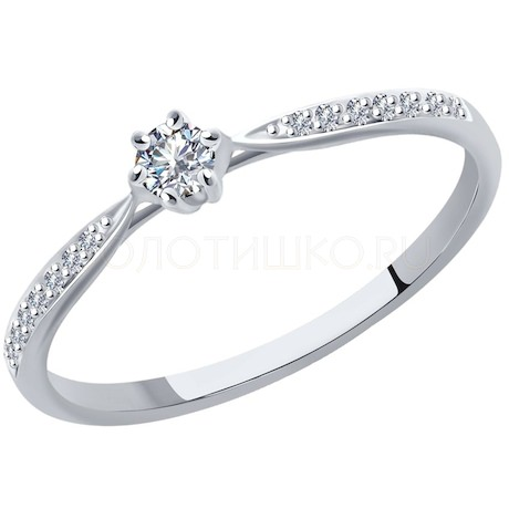 Кольцо из белого золота с родированием с бриллиантами 1012095