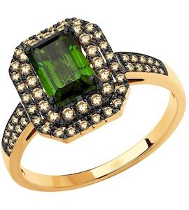 Кольцо из золота с бриллиантами и турмалином 6014195