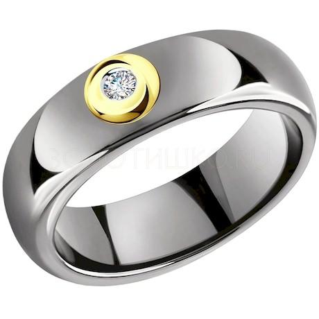Кольцо из желтого золота с бриллиантами и керамическими вставками 6015077-2