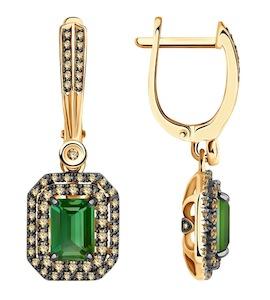 Серьги из золота с бриллиантами и турмалином 6024235