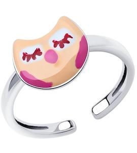 Кольцо из серебра с эмалью 94013235