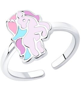 Кольцо из серебра с эмалью 94013250