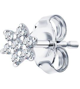 Серьга из серебра с фианитами 94170132