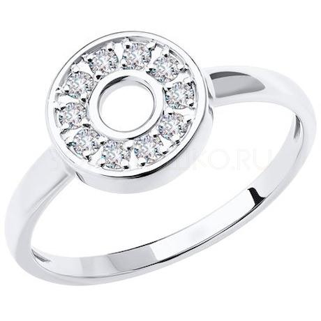 Кольцо из белого золота с фианитами 018779-3