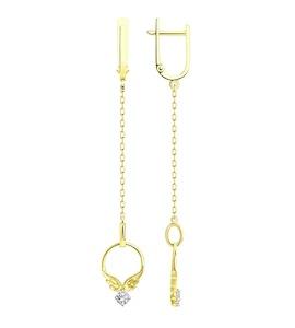 Серьги из желтого золота с фианитами 029322-2