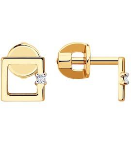 Серьги из золота с фианитами 029448