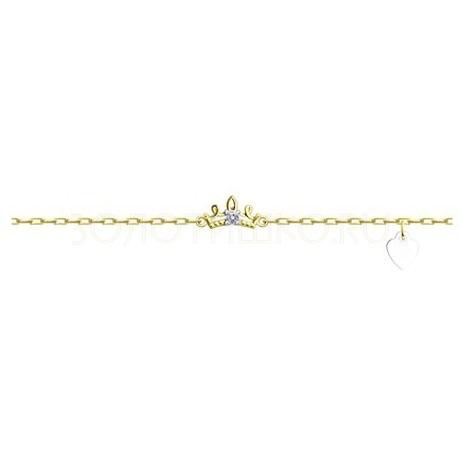 Браслет из желтого золота с фианитом 051330-2