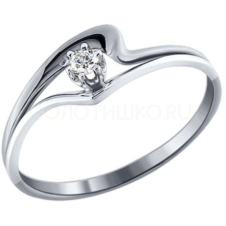Кольцо из белого золота с бриллиантом 1010788-3