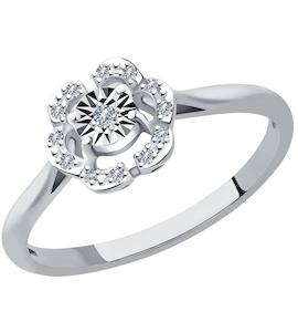 Кольцо из белого золота с родированием с бриллиантами 1011954-3