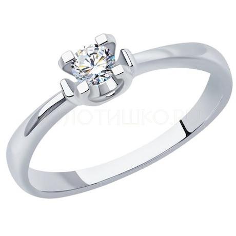 Кольцо из белого золота с бриллиантом 1012224-3