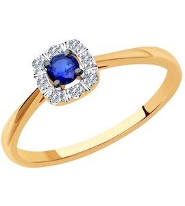 Кольцо из золота с бриллиантами и сапфиром 2011187