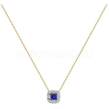 Колье из золота с бриллиантами и сапфиром 2070022