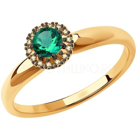 Кольцо из золота с бриллиантами и изумрудом 3010595