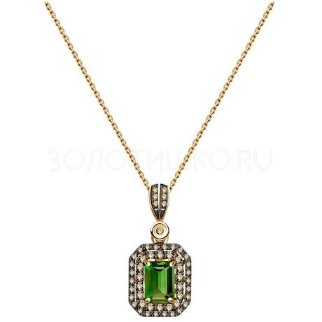 Колье из золота с бриллиантами и турмалином 6074037