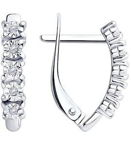 Серьги из серебра с бриллиантами 87020069