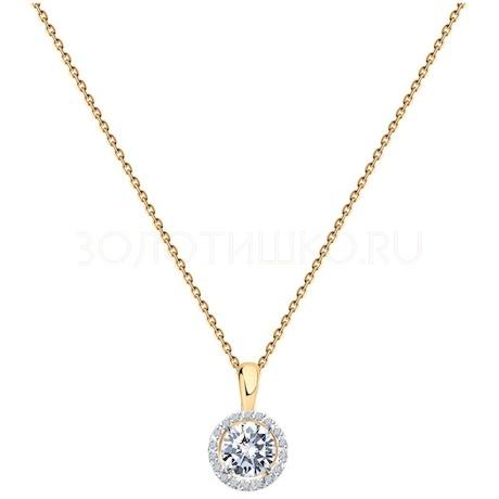 Колье из золота с бриллиантами и бриллиантом 9070014-47