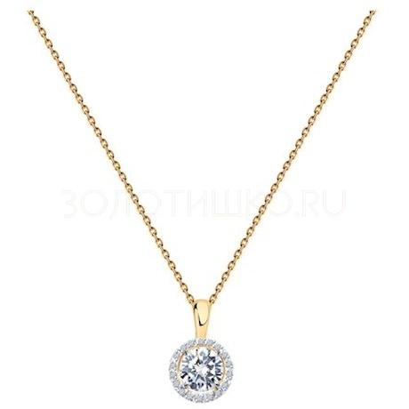 Колье из золота с бриллиантами и бриллиантом 9070014-57