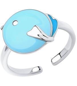 Кольцо из серебра с эмалью 94013443