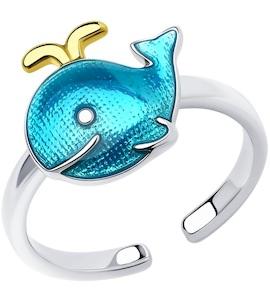 Кольцо из золочёного серебра с эмалью 94013455
