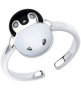 Кольцо из серебра с эмалью 94013457
