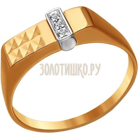 Печатка из комбинированного золота с фианитами 010590