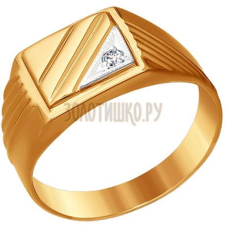 Печатка из комбинированного золота с фианитом 010757
