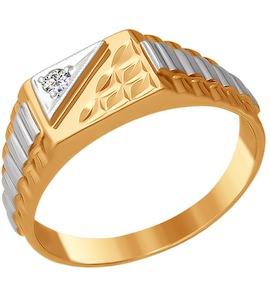 Печатка из комбинированного золота с алмазной гранью с фианитом 010772