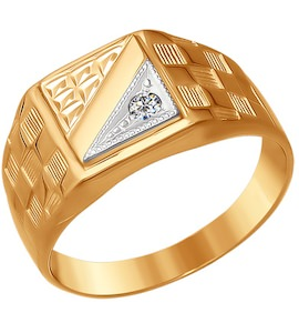 Печатка из комбинированного золота с алмазной гранью с фианитом 011574