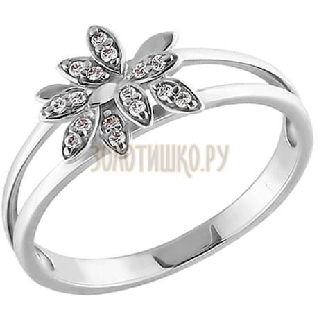 Кольцо из белого золота с фианитами 015152