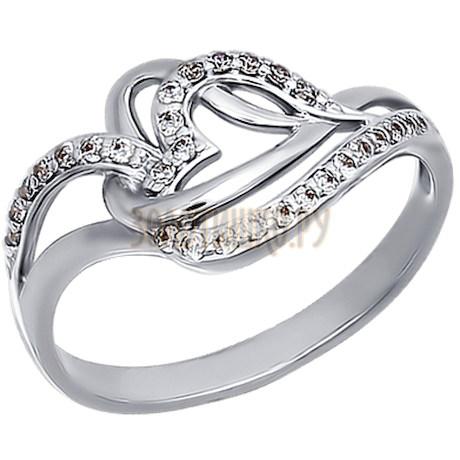 Кольцо из белого золота с фианитами 015154