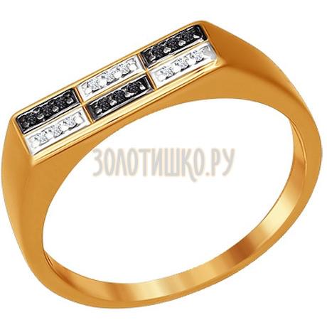 Печатка из золота с фианитами 015412