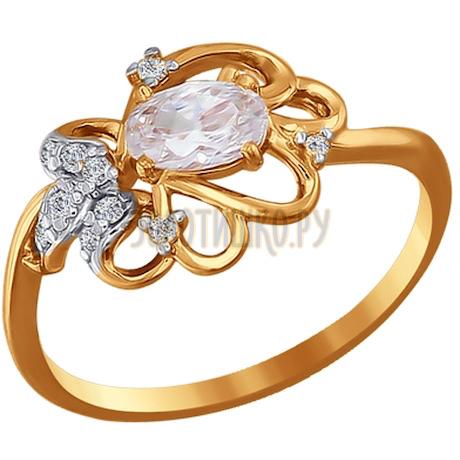 Кольцо из золота с фианитами 015508