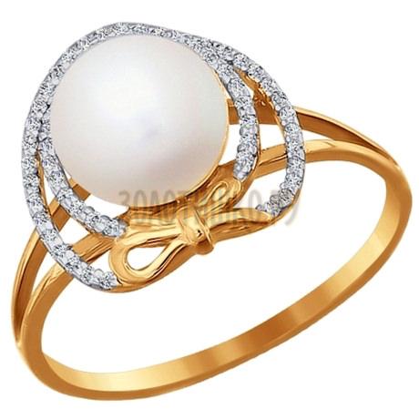 Кольцо из золота с жемчугом и фианитами 015749