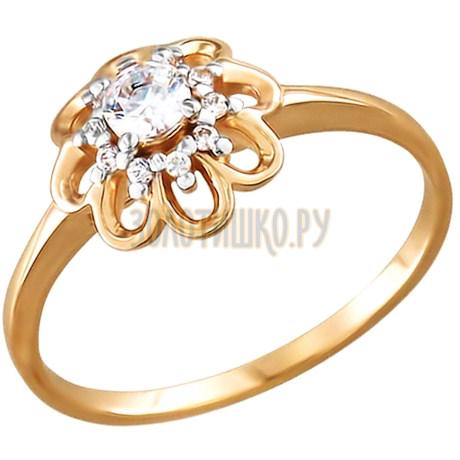 Помолвочное кольцо из золота с фианитами 015807