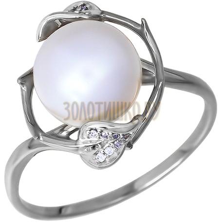 Кольцо из белого золота с жемчугом и фианитами 015839