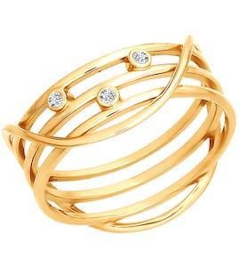 Тройное кольцо из золота с фианитами 015971