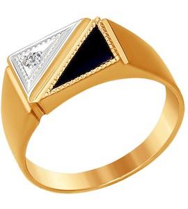 Печатка из золота с ониксом и фианитом 016116