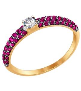 Кольцо из золота с бесцветным и красными фианитами 017386